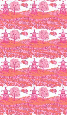Pink and orange pagoda fabric by Danika Herrick