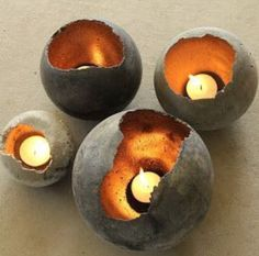 concrete votives made with balloons