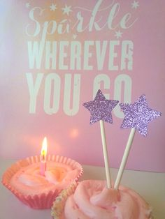 glitter star cupcake toppers / purple and gold / by JuiceBoxBaby first birthday party cupcake toppers