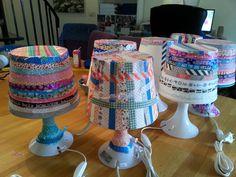 Lampan van Ikea beplakt met washi tape voor een kinderfeestje!