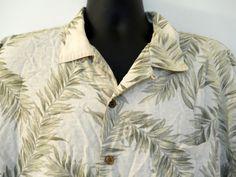 Tommy Bahama Cream Tan Hawaiian Shirt XL Light Dark Green Leaves 100% Silk  #TommyBahama #Hawaiian