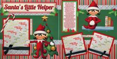 elf on the shelf scrapbook layouts | ... HELPER girl ELF christmas 2 premade scrapbook pages paper CHERRY