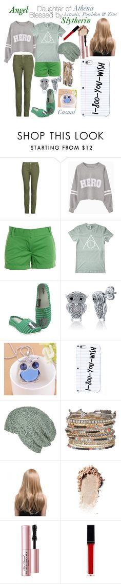 """""""Daughter of Athena   Slytherin"""" by half-blood-outfits ❤ liked on Polyvore featuring Violeta by Mango, J.Crew, American Apparel, BERRICLE, Best Jewellery, Krochet Kids, maurices, Too Faced Cosmetics and Witchery"""