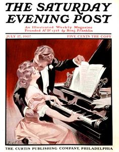 Couple Kissing at Piano by Frank X. Leyendecker, July 27, 1907