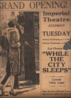 original grand opening article Imperial Theater, Lon Chaney, Grand Opening, Orchestra, Comedy, The Originals, Opening Day, Comedy Theater, Band