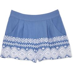 Suno Diamond Embroidery Shorts ($350) ❤ liked on Polyvore