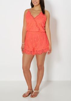 image of Plus Neon Surplice Crochet Romper