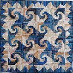"Shenandoah Log Cabin - Cookies 'n' Quilts, 2001. Designed and pieced by Judy Martin. Quilted by Jean Nolte. 60"" x 60""."