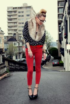 Red pants + tall shoes, polka dots and fur