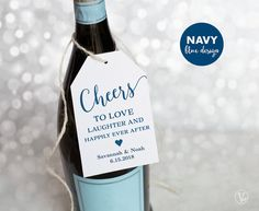 Navy Blue Wine Tags Printable Wedding Favor Tags by VineWedding