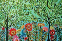 Cottage+Tree+Flowers+Art+++Print+by+Karen+by+karenfieldsgallery,+$30.00