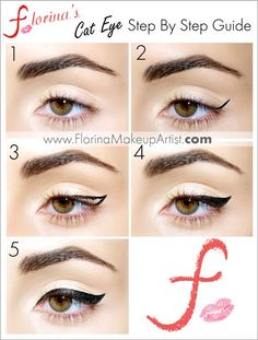 Winged eyeliner tutorial www.florinamakeupartist.com Cat eyeliner gel liner tutorial how to quick eyeliner