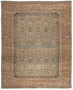 An Indian Agra Rug BB4922 - by Doris Leslie Blau. A Late 19th Century Cotton Indian Agra Rug with an overall floral and vine design on an abrashed blue-green field within a ...