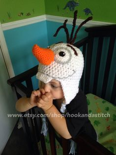 "Olaf crochet hat inspired by the Disney movie ""Frozen"" www.etsy.com/shop/hookandastitch"