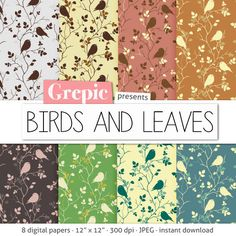 8 digital papers Birds and leaves with #birds #patterns by Grepic