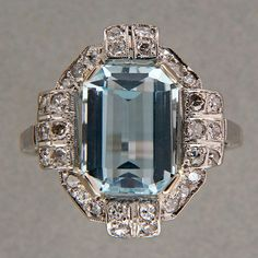 3 00ct Step Emerald Cut Natural Untreated Aqua Art Deco Platinum Diamond Ring | eBay