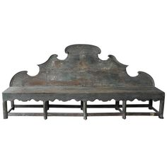 Antique 18th Century Long Carved Italian Wooden Bench with Blue Patina | From a unique collection of antique and modern benches at https://www.1stdibs.com/furniture/seating/benches/