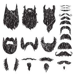 Hand drawn mustaches and beards set vector Movember by artsandra on VectorStock®