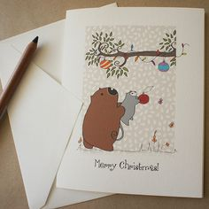 Christmas card handmade Australian Christmas by possandwom on Etsy, $5.00