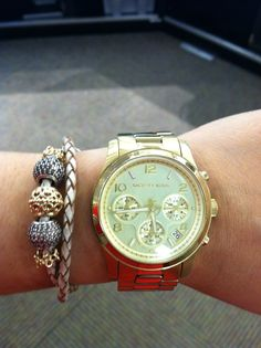 Got this look at Smyth Jewelers... Michael Kors watch with Pandora double leather bracelet  with gold and pave beads