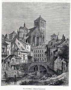 Antique print Huy Belgium 1854 Huy sur la Meuse / maas Hoei