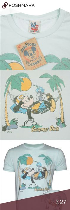 """Junk Food Mickey Mouse """"Summer Daze"""" T-Shirt. Junk Food takes a load off for summer with this men's t-shirt found at PacSun. The Mickey Summer Daze T-Shirt comes with everyone's favorite mouse lounging under the golden sun. Green tee with multi color graphic on front Crew neck Short sleeves Regular fit Machine washable 100% cotton Made in USA PacSun Shirts Tees - Short Sleeve"""