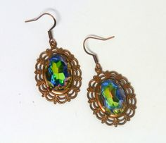 Green-blue crystal earrings - oval cut glass stone - silver foil back crystal - brass filigree base - rainbow jewelry - Victorian inspired by FireskyeDesigns on Etsy