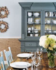 From the Beauti-Tone Style at Home Country Colour Collection: cabinetry paint, Eddy Current cabinet backing paint, Citrine Painted China Cabinets, Painted Hutch, Painted Furniture, Gray Furniture, Style At Home, Layout Design, Dish Display, Do It Yourself Inspiration, Color Inspiration