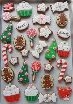 Red and Green Cute Candy Cutout cookies with Royal frosting ~ inspired by stickers