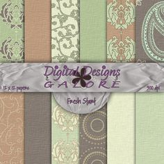 Fresh Start Digital Paper Pack Set of 12 by DigitalDesignsGalore, $3.99