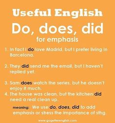 Useful English - Do, does, did - for emphasis