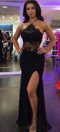 Charming Prom Dress #Sexy Black Prom Dresses #Split Slit Lace Evening Dress PD20191570