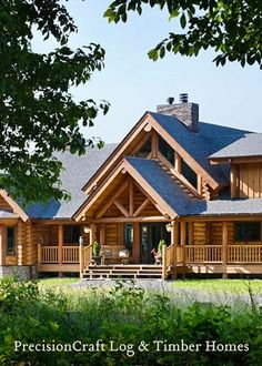 log home... If that's a dog run, how perfect to have for desperation between bedrooms  living space... Have sliding screen doors across openings for bug/ rain season #LogHomeDecor