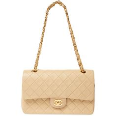Chanel Women's Vintage Beige Quilted Lambskin Classic Flap Medium -... (31 300 SEK) ❤ liked on Polyvore featuring bags, handbags, white quilted purse, white quilted handbag, cream handbags, chanel purse and vintage handbags