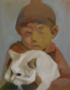 """Saatchi Art Artist motoko kamada; Painting, """"Boy With A Cat"""" #art"""