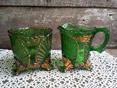 Green and Gold Large Glass Creamer & Sugar Bowl Set