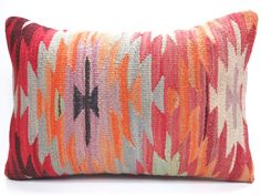 For Home Decor Handwoven Traditional Turkish Kilim Lumbar Pillow, it is made of an old Turkish Antalya Kilim, Dyed Naturally,Traditional Tribal Turkish