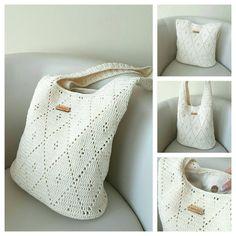 Crochet Summer Bag Tote Handbag Cream Color Purses by FallingDew