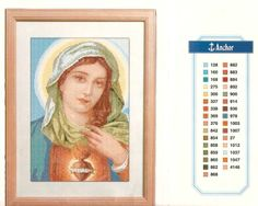 Heart of Mary Religious Cross Stitch Patterns, Jesus E Maria, Cross Stitch Angels, New Years Eve Party, Cross Stitching, Embroidery, Baseball Cards, Sewing, Crochet