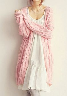 Pink Cable Knit Cardigan - Top