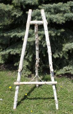 Birch Easel for rent. Tall and sturdy...beautiful!!! www.southerncharmvintagerentals.com