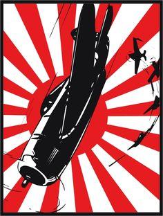"Japanese ""Divine wind"" by Aurajahat Rising Sun Flag, Ww2 Posters, Imperial Japanese Navy, Japanese Poster, Samurai Art, Aviation Art, Japan Art, Panzer, Military Art"