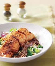 Glazed Salmon With Broccoli Rice|Brushing the salmon with brown sugar and soy sauce while it broils is a quick, easy way to add instant flavor and help preserve moisture. Served over rice with a healthy green vegetable, it makes a tasty meal in just 30 minutes.