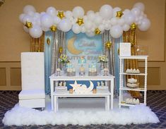 Baby Shower Backdrop Twinkle Twinkle Little Star Photocall Photography Party Blue Background Dessert Table Decoration Backdrops intended for Twinkle Twinkle Little Star Party Decorations - Best Home & Party Decoration Ideas Baby Shower Decorations For Boys, Boy Baby Shower Themes, Baby Shower Gender Reveal, Baby Boy Shower, Party Decoration, Balloon Decorations, Shower Party, Baby Shower Parties, Mesas Para Baby Shower