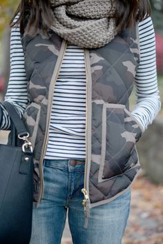 Wellesley & King | a chic and cozy fall outfit of boyfriend jeans, knit infinity scarf, striped turtleneck and J.Crew camo vest. Click for all outfit details on the full post.