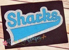 Sharks Double Vintage Stitch Applique - 6 Sizes!   Sport Teams   Machine Embroidery Designs   SWAKembroidery.com Creative Appliques