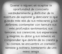 〽️ Querer a alguien es aceptar la oportunidad de conocerlo verdaderamente y disfrutar de la aventura...