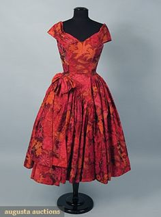 Galanos Chine Print Silk Party Dress, 1950s, Augusta Auctions, October 2006 Vintage Clothing & Textile Auction, Lot 915