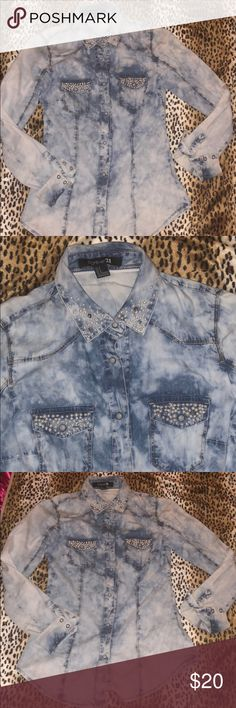 Beaded pearl rhinestone denim button up shirt Forever 21 please check out my other listings and bundle and save! Forever 21 Tops Button Down Shirts