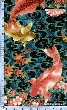 Koi Garden - Elegant Gilded Koi on Teal - Fish & Sea Life, Elkabee's Fabric Paradise.com, LLC